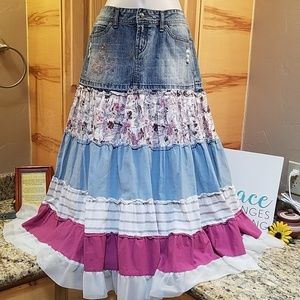 Candie's boho cowboy tier flared skirt, GUC, Small